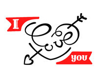 Ich liebe dich Schöner Beschriftungstext Stockbilder