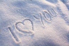 Ich liebe dich Schnee Stockfotografie