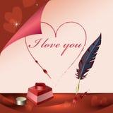 Ich liebe dich schreibt auf Papier Stockfotos