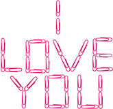 Ich liebe dich Sie rote Papierklammern Lizenzfreies Stockfoto