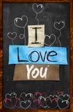 Ich liebe dich Text auf Tafel stockfotos