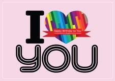 Ich liebe dich und glückliches Glückwunschkarteideendesign lizenzfreie abbildung