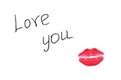 Ich liebe dich und Kuss Lizenzfreie Stockbilder