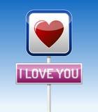 Ich liebe dich - Verkehrsbrett Stockfotos