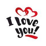 Ich liebe dich Von Hand gezeichnete schöne Aufschrift, Text mit roten Herzen Lizenzfreies Stockfoto