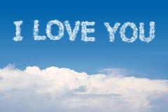 Ich liebe dich Wolken-Text Stockfoto
