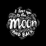 Ich liebe dich zum Mond und zur Rückseite lizenzfreie abbildung