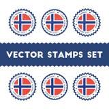 Ich liebe die eingestellten Norwegen-Vektorstempel vektor abbildung