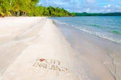 Ich liebe die Städtereisemitteilung, die auf Sand, Ferienkonzept geschrieben wird, der angewendete Farbfilter Stockfotografie