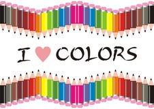 Ich liebe Farben-Bleistifte lizenzfreies stockbild