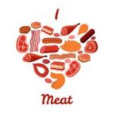 Ich liebe Fleischsatz Speck, Huhn, Schinken, geräuchertes Schweinefleisch, jamon Illustration Überlagert, einfach zu bearbeiten V Stockbild