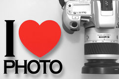 Ich liebe Fotographie mit Kamera Stockbilder