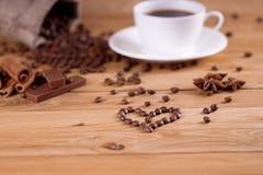 Ich liebe frischen Kaffee stockbilder