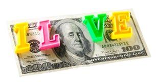 Ich liebe Geld - 100 Dollar, getrennt auf Weiß Lizenzfreie Stockfotos
