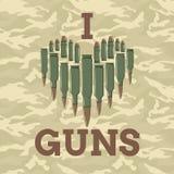 Ich liebe Gewehrvektorillustration Grüne taktische Schutzkleidung mit US-Streifenmarkierungsfahne und Nahaufnahme des Sturmgewehr Lizenzfreies Stockbild