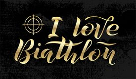 Ich liebe goldenen Beschriftungstext des Biathlon auf schwarzem strukturiertem Hintergrund mit Ziel, Vektorillustration stockfoto