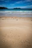 Ich liebe großes Ilha, Sprünge Mendes, Strand Unglaubliches Paradies BR stockfoto