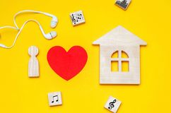 Ich liebe Hausmusik Electonic-Musik Galvano, Trance, tiefes Haus lizenzfreie stockfotos