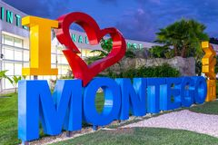 Ich liebe Herz Montego Bays/I Montego Bay-Zeichen am internationalen Flughafen Sangster lizenzfreies stockbild
