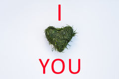 Ich liebe,/Herz Sie Stockbilder