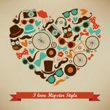 Ich liebe Hippie-Art-Ikonen-Satz Stockfotografie