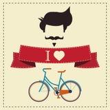 Ich liebe Hippie-Weinlesefrisur, -schnurrbart und -fahrrad Stockfotos