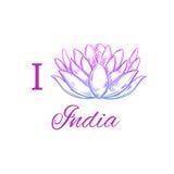 Ich liebe Indien Vektorhand gezeichneter Begriffsdruck Laptop- und Blinkenleuchte lotos yoga vektor abbildung
