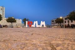 Ich liebe JLM-Statue in Jerusalem, Israel stockbilder