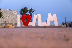 Ich liebe JLM-Statue in Jerusalem, Israel stockfoto