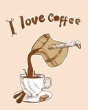 Ich liebe Kaffee Stockbild