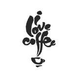 Ich liebe Kaffee-Kalligraphie-Beschriftung Lizenzfreie Stockfotografie