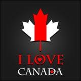 Ich liebe Kanada-Zeichen und -aufkleber auf Ahornblattflagge Lizenzfreies Stockfoto