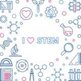 Ich liebe kreative Illustration oder Rahmen des STAMM-Vektorkonzeptes stock abbildung