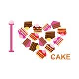 Ich liebe Kuchen Symbolherz von Stücken des Kuchens Vektor Illustratio Lizenzfreie Stockfotografie
