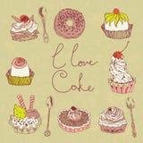 Ich liebe Kuchenhintergrund Stockbild