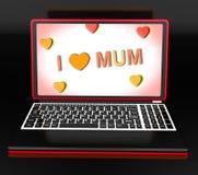 Ich liebe Mama auf Laptop-Show-Mutter-Tagesgruß Lizenzfreies Stockfoto