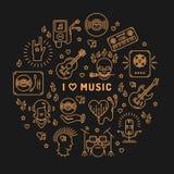 Ich liebe Musiklinie den lokalisierten infographic Kreis der Kunst Ikonen lizenzfreie abbildung