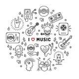 Ich liebe Musiklinie Kunstikonen, der infographic Kreis lizenzfreie abbildung