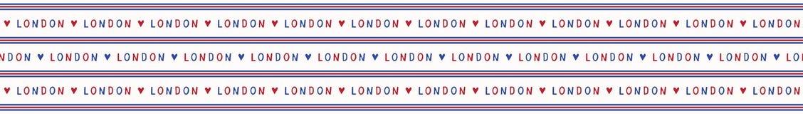 Ich liebe nahtloses Vektormuster des London-Beschriftungstextes Ber?hmte historische Briten lizenzfreie abbildung