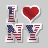 Ich liebe New- Yorkfahne mit Schatten Stockfotos
