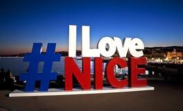 Ich liebe Nizza Zeichen Lizenzfreie Stockbilder