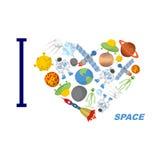 Ich liebe Raum Herzsymbol von kosmischen Elementen Stockbild
