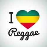 Ich liebe Reggae-Herzillustration, jamaikanische Musik Stockfotografie