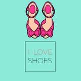 Ich liebe rosa Schuhe Lizenzfreie Abbildung