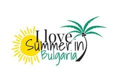 Ich liebe Sommer in Bulgarien-Logo und fasse Entwurf, Wand-Abziehbilder, Art Decor ab, lokalisiert auf weißem Hintergrund lizenzfreie abbildung
