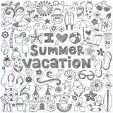 Ich liebe Sommer-Ferien-tropischen Gekritzel-Vektor Stockfoto