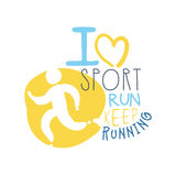 Ich liebe Sport halte, Logosymbol laufen zu lassen Bunte Hand gezeichnete Illustration stock abbildung