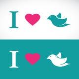 Ich liebe symbolische Mitteilung des Vogels Stockbilder