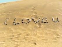 Ich liebe u herein der Wüste Stockfoto