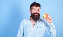Ich Liebesäpfel bemanne den hübschen Hippie mit langem Bart Apfel essend Hungrige Bisse des Hippies genießen reifen Apfel Frucht  Stockfoto